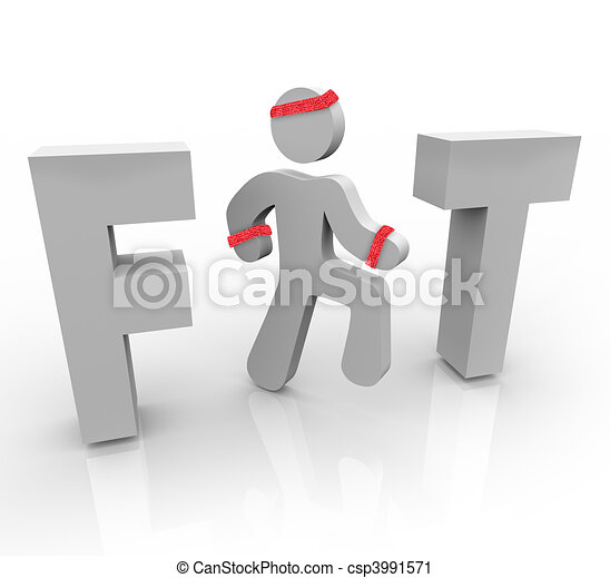 Fit - Exercising Man in Word - csp3991571