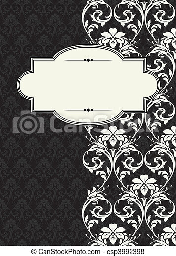 Vector Side Damask Frame - csp3992398