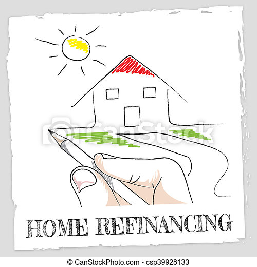 Home Refinancing Represents Equity Loan for Building - csp39928133