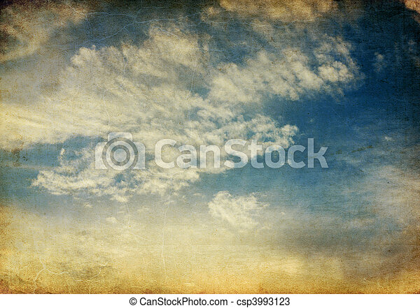 Vintage tranquil sunset sky retro background. - csp3993123