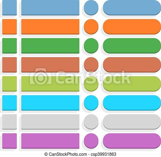 Flat blank web button internet icon set - csp39931863