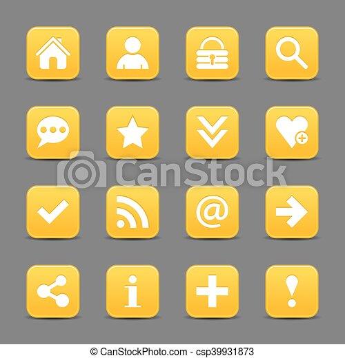 Yellow satin icon web button with white basic sign - csp39931873