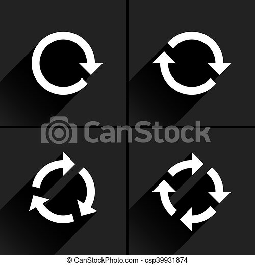 White arrow loop, refresh, reload, rotation icon - csp39931874