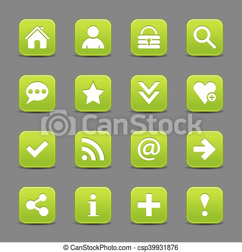 Green satin icon web button with white basic sign - csp39931876