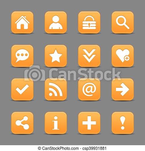 Orange satin icon web button with white basic sign - csp39931881