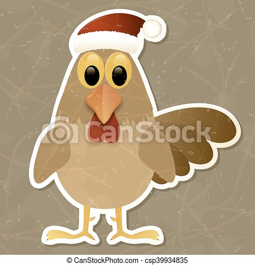 Rooster in Santa hat. Vintage background. - csp39934835