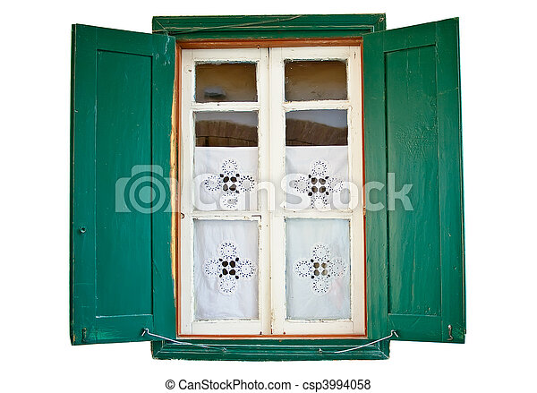 Window with wooden painted green shutters - csp3994058