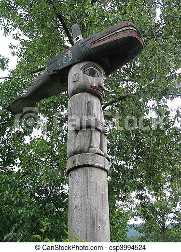 Killer Whale Totem in Alaska - csp3994524