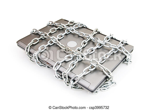 Computer security concept with laptop and chain - csp3995732