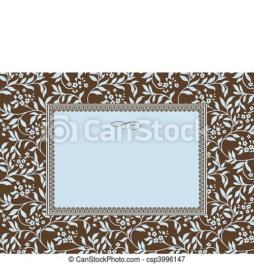 Vector Blue Ivy Pattern and Frame - csp3996147
