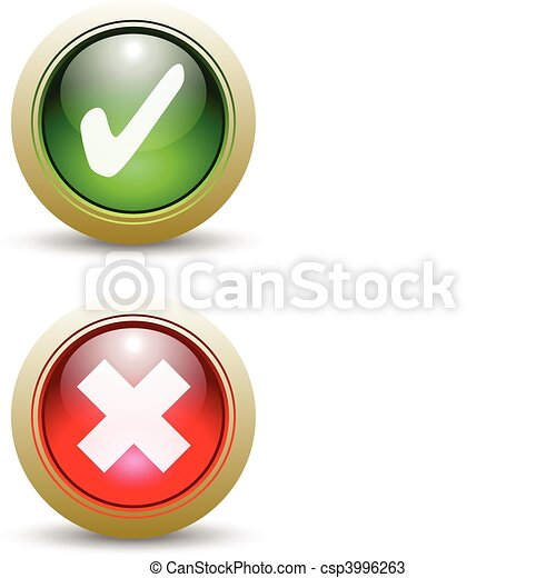 Pair of Check Mark Buttons - Red an - csp3996263