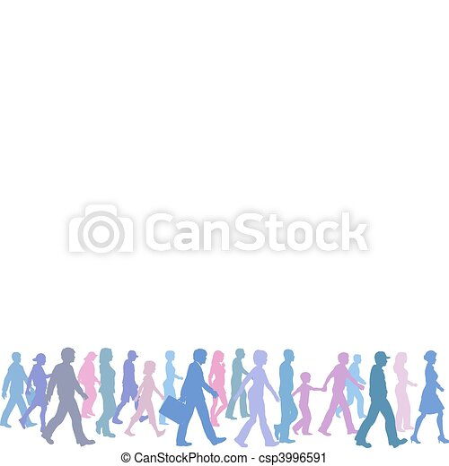 People of color group walk follow direction leader - csp3996591