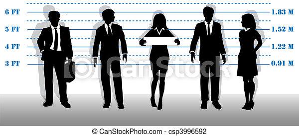 Wanted business people lineup mugshot - csp3996592