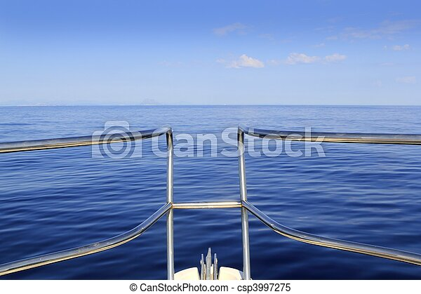 blue perfect sea cruising boat bow calm ocean - csp3997275