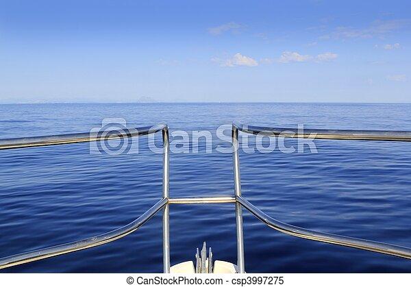 blue perfect sea cruising boat bow calm ocean - csp3997275