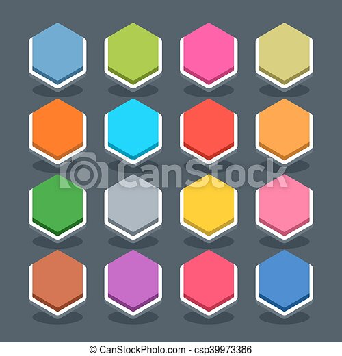 Flat blank web button hexagon icon with shadow - csp39973386