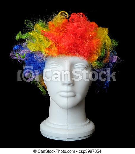 Clown Wig on a Mannequin Head - csp3997854