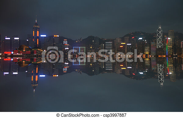 Hong Kong at night - csp3997887