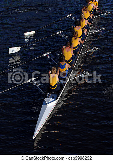 an aerial view of a rowing crew in action. - csp3998232