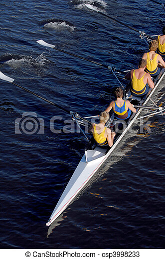 an aerial view of a rowing crew in action. - csp3998233