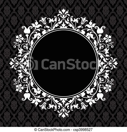Vector Round Floral Frame - csp3998527