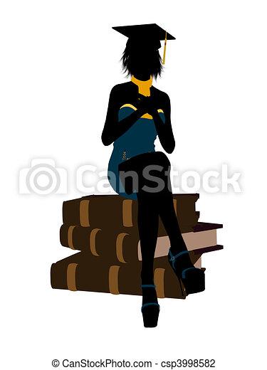 Female Graduate Illustration Silhouette - csp3998582
