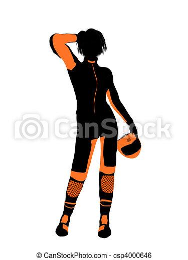 Female Motorcycle Rider Art Illustration Silhouette - csp4000646