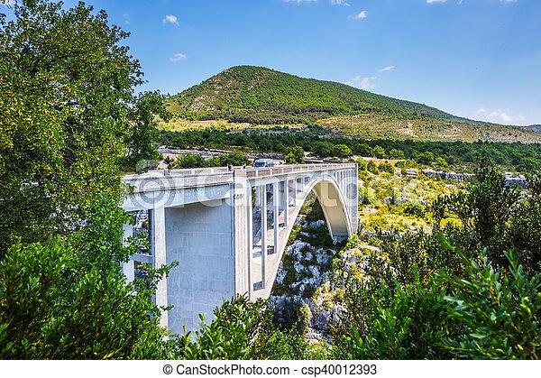 The white bridge over river Artuby - csp40012393