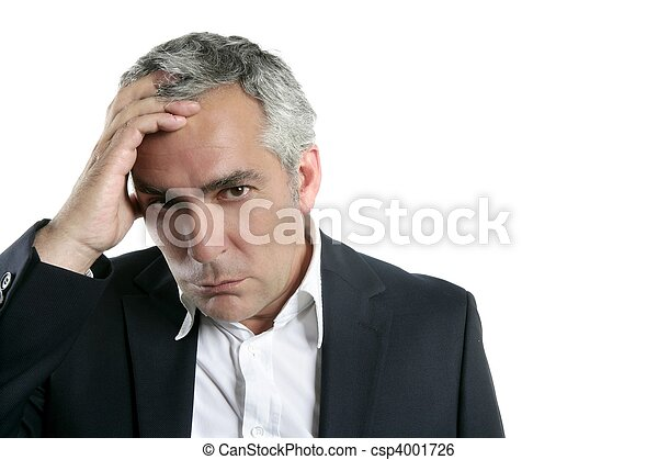 gray hair sad worried senior businessman expertise - csp4001726