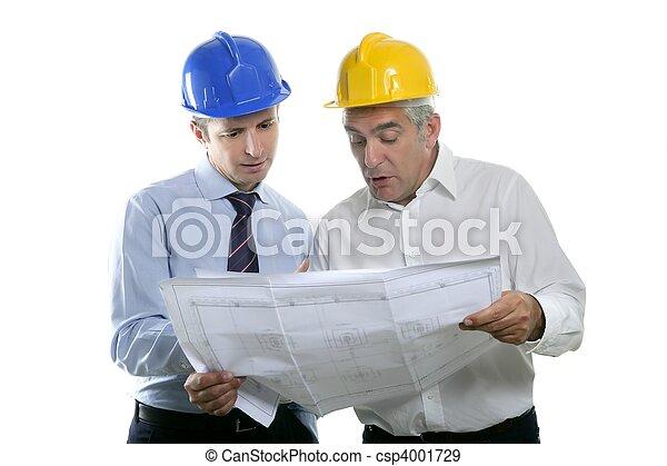 engineer architect two expertise team plan hardhat - csp4001729