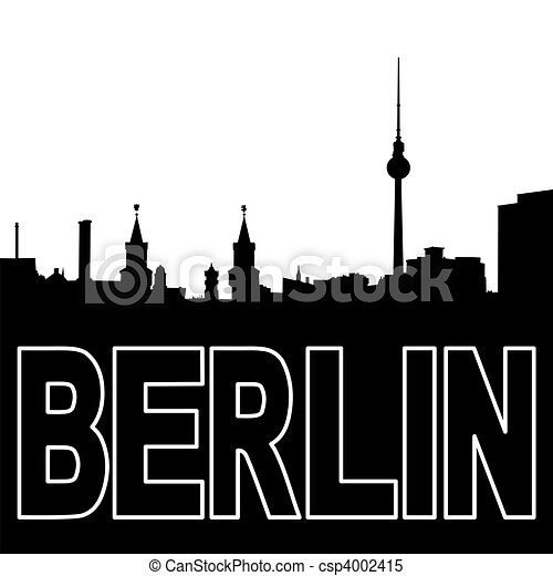 stock illustrationen schwarz berlin silhouette skyline berlin skyline csp4002415