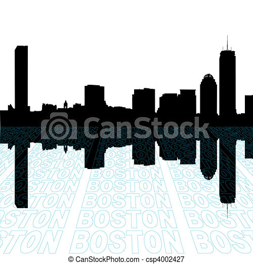 Boston skyline with perspective text outline foreground - csp4002427