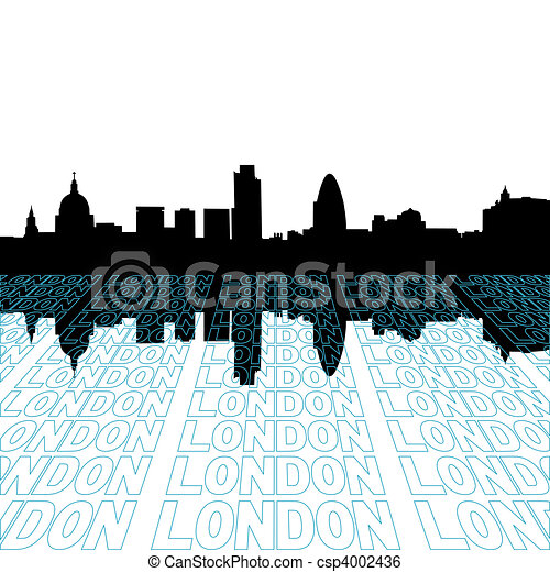 London skyline with perspective text outline foreground - csp4002436