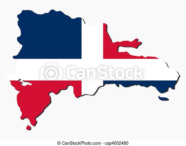 Dominican Republic map flag - csp4002480