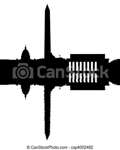 Washington DC Skyline reflected - csp4002482