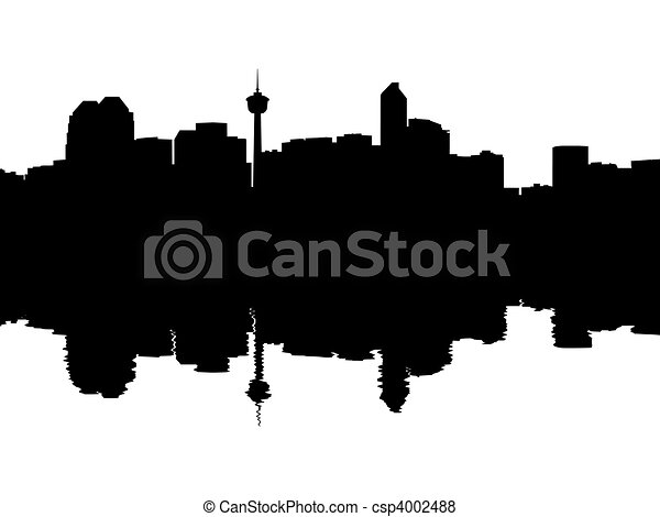 Calgary Skyline reflected - csp4002488
