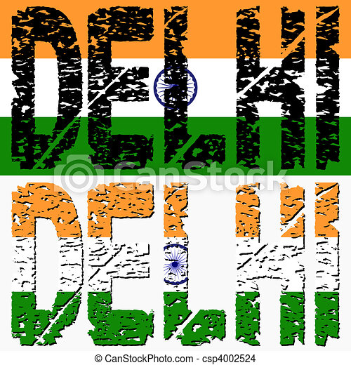 Delhi grunge text with flag - csp4002524