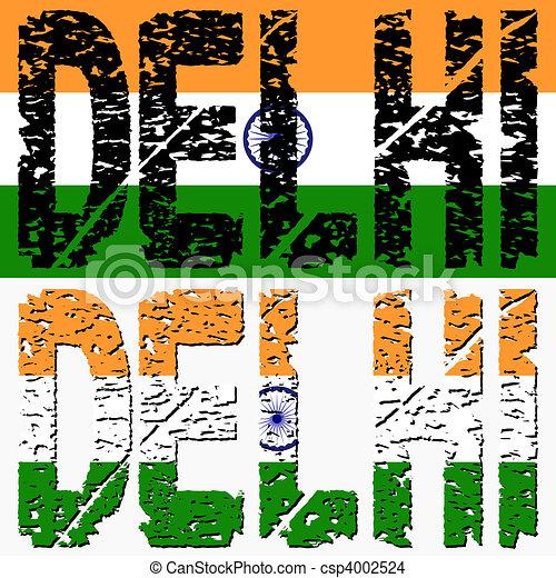Delhi grunge text with flag - csp4002524
