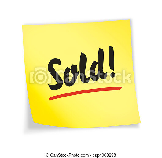 "Yellow sticky note ""sold\"" - csp4003238"