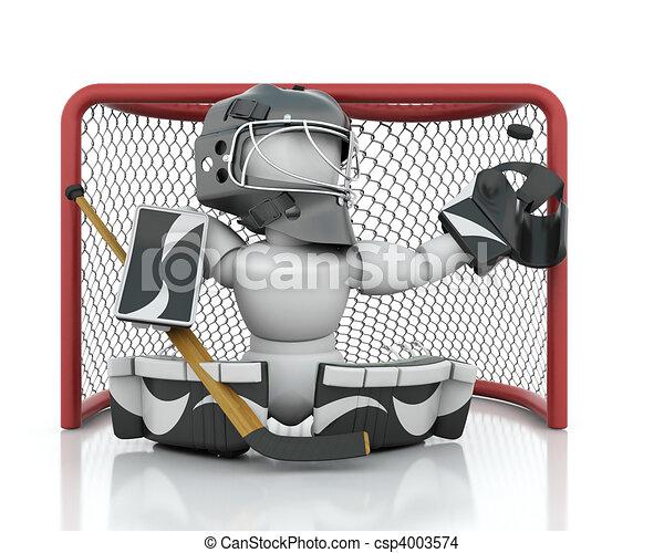 Dessin de hockey glace gardien de but 3d render de - Dessin gardien de but ...