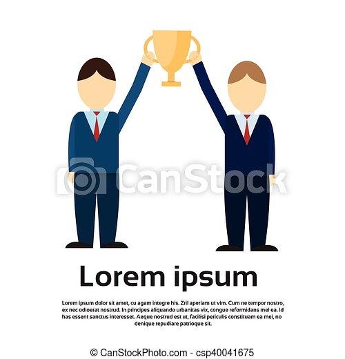 Two Business Man Get Prize Winner Cup, Teamwork Success - csp40041675
