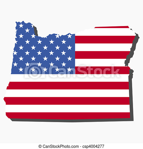 Map of Oregon with flag - csp4004277