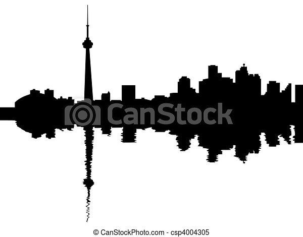 Toronto skyline reflected - csp4004305
