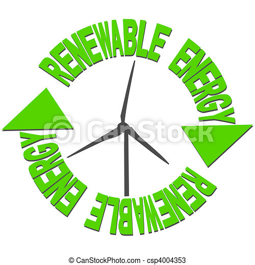 Renewable energy text and wind turbine - csp4004353
