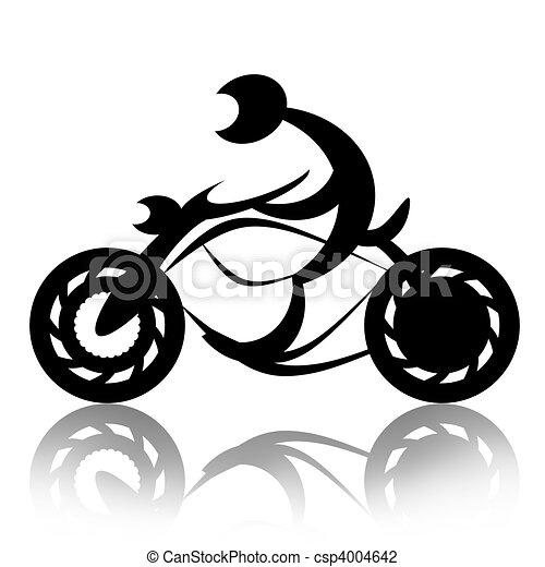 Motorcyclist on Bike - csp4004642
