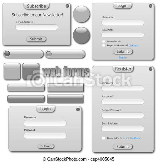 Light gray web template with forms, bars and buttons. - csp4005045