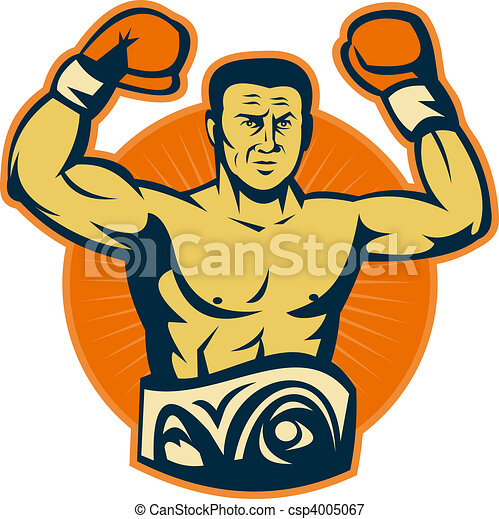 Champion boxer with championship belt raising gloves - csp4005067