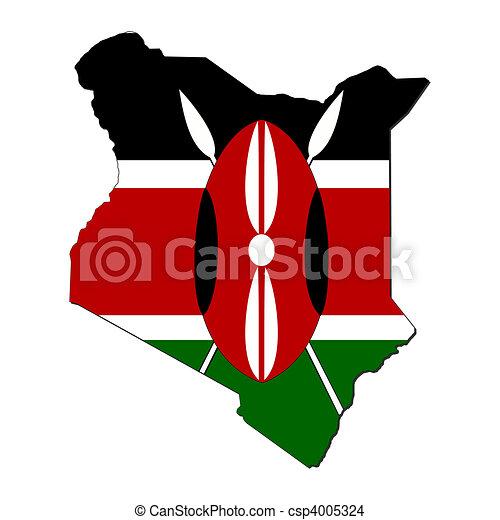 Kenya map flag - csp4005324