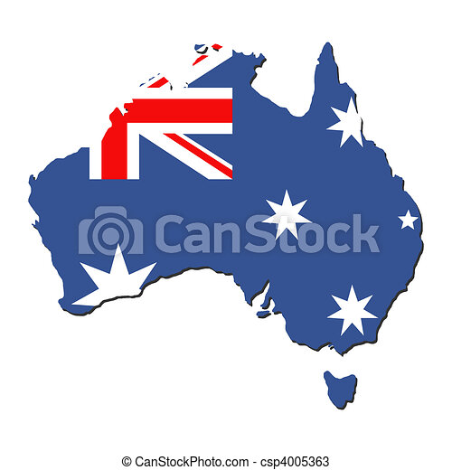 Australia map flag - csp4005363