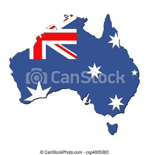Australia map flag - csp4005363